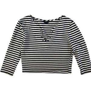 Topshop Cropped 3/4 Sleeve Striped Shirt US 10